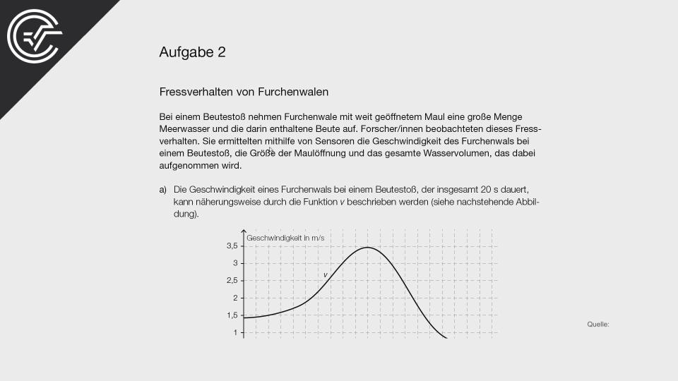Fressverhalten von Furchenwalen Zentralmatura Mathematik BMB Aufgabenpool BHS BRP Teil A Bifie