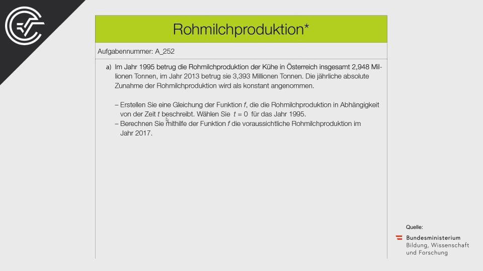 A_252 Rohmilchproduktion Zentralmatura Mathematik BMB Aufgabenpool BHS Teil A Bifie  Bundesministerium für Bildung