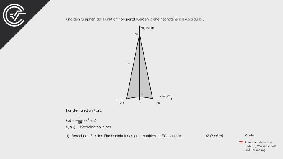 Regenschirm Bifie Aufgabenpool angewandte Mathematik BHS Teil-B Cluster Zentralmatura Mathematik