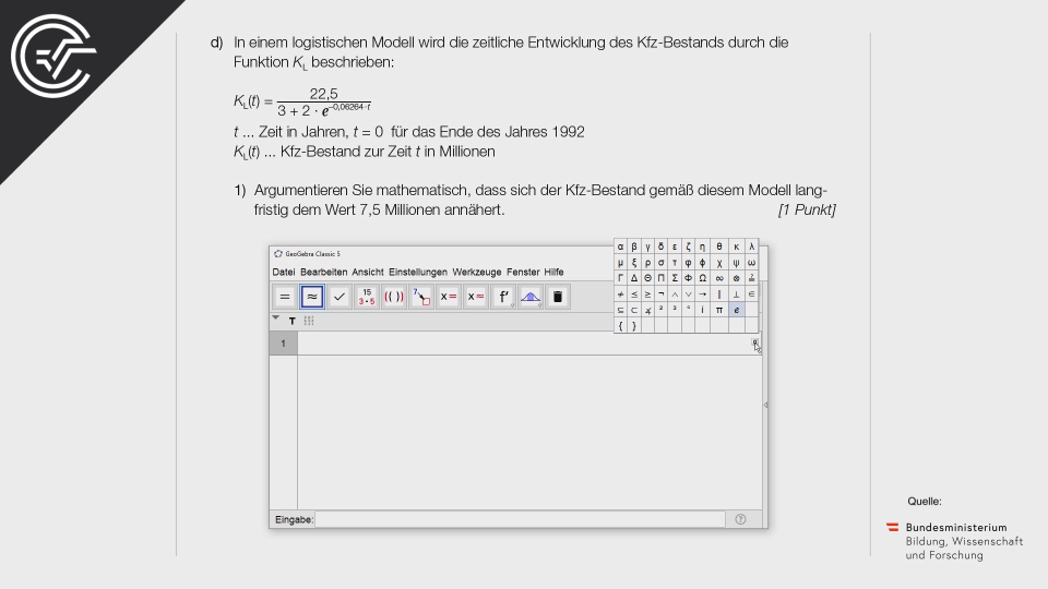 Kfz-Bestand Bifie Aufgabenpool angewandte Mathematik BHS Teil-B Cluster Zentralmatura Mathematik