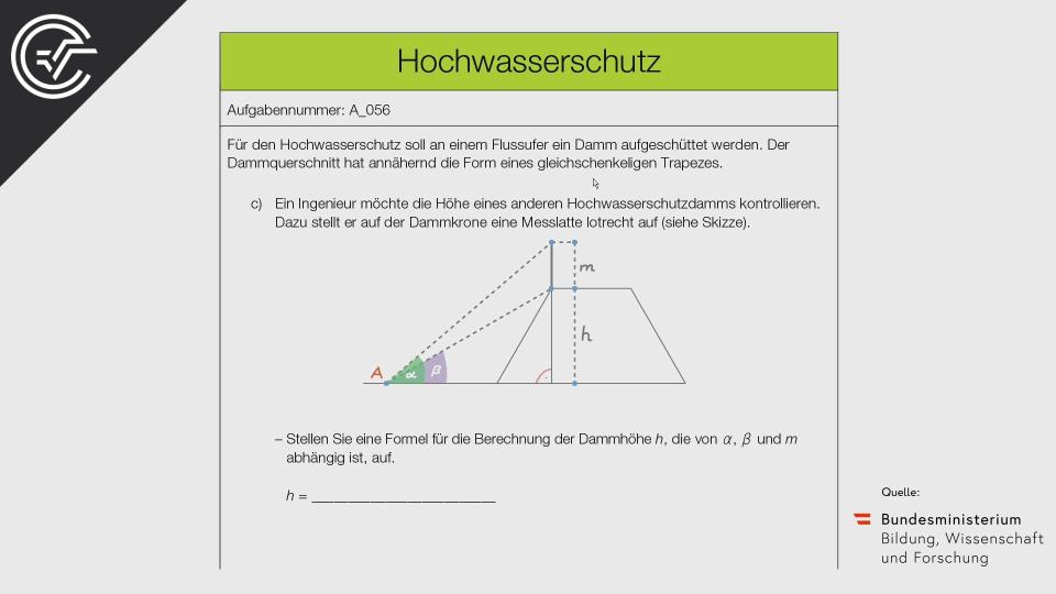 A_056 Hochwasserschutz Zentralmatura Mathematik BMB Aufgabenpool BHS Teil A Bifie  Bundesministerium für Bildung