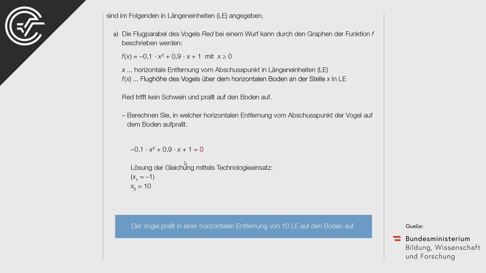 A_242 Angry Birds Zentralmatura Mathematik BMB Aufgabenpool BHS Teil A Bifie  Bundesministerium für Bildung
