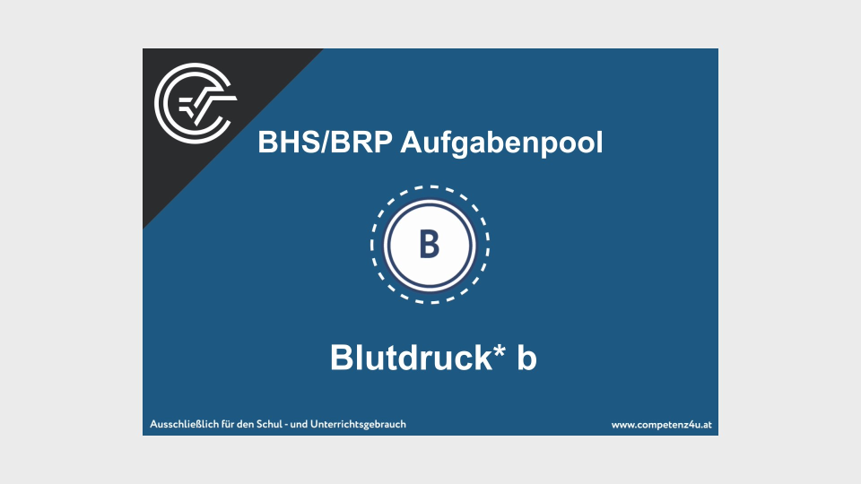 Blutdruck b Bifie Aufgabenpool angewandte Mathematik BHS Teil-B Cluster Zentralmatura Mathematik