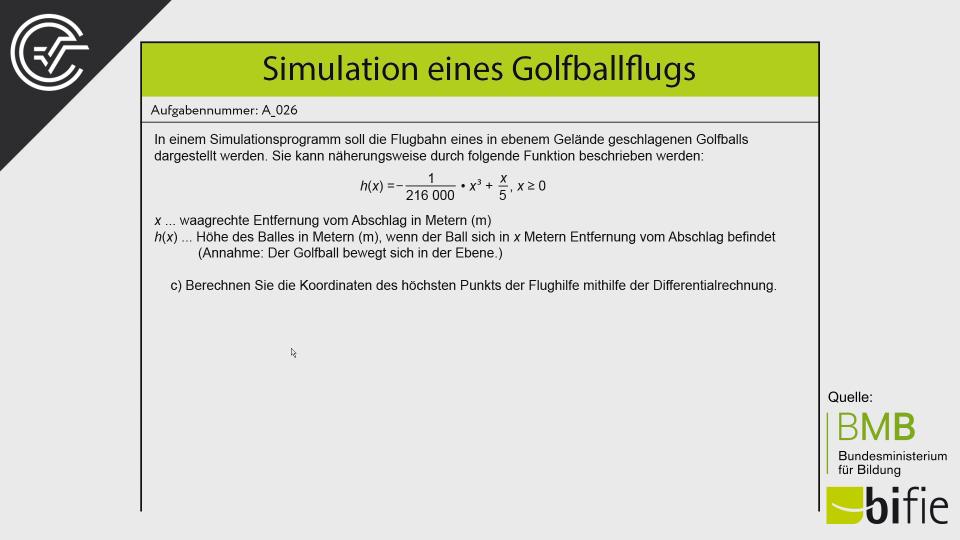 bmb Aufgabenpool Simulation eines Golfballflugs