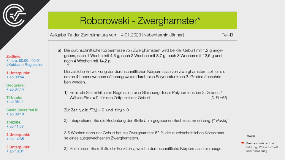 Roborowski Zwerghamster Bifie Aufgabenpool angewandte Mathematik BHS Teil-B Cluster Zentralmatura Mathematik