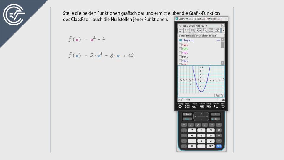 Crashkurs CASIO ClassPad 2 II Zeichnen BMB Aufgabenpool Zentralmatura Mathematik