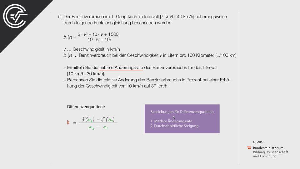 A_185 Benzinverbrauch Zentralmatura Mathematik BMB Aufgabenpool BHS Teil A Bifie  Bundesministerium für Bildung