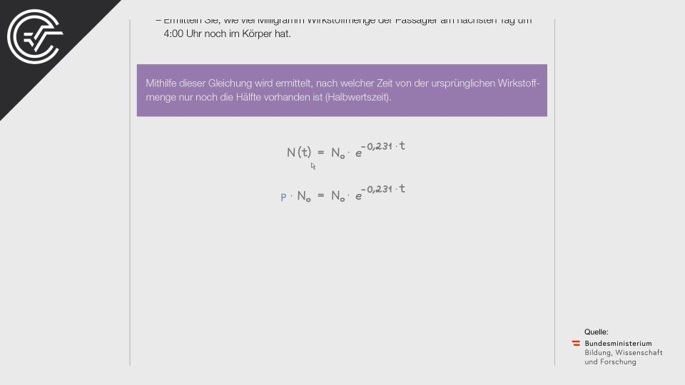 A_231 Medikamentenabbau (2) Zentralmatura Mathematik BMB Aufgabenpool BHS Teil A Bifie  Bundesministerium für Bildung