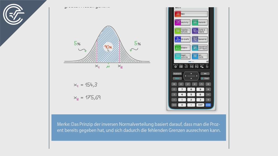 inverse normalverteilung CASIO ClassPad 2 II Crashkurs BMB Aufgabenpool Zentralmatura Mathematik