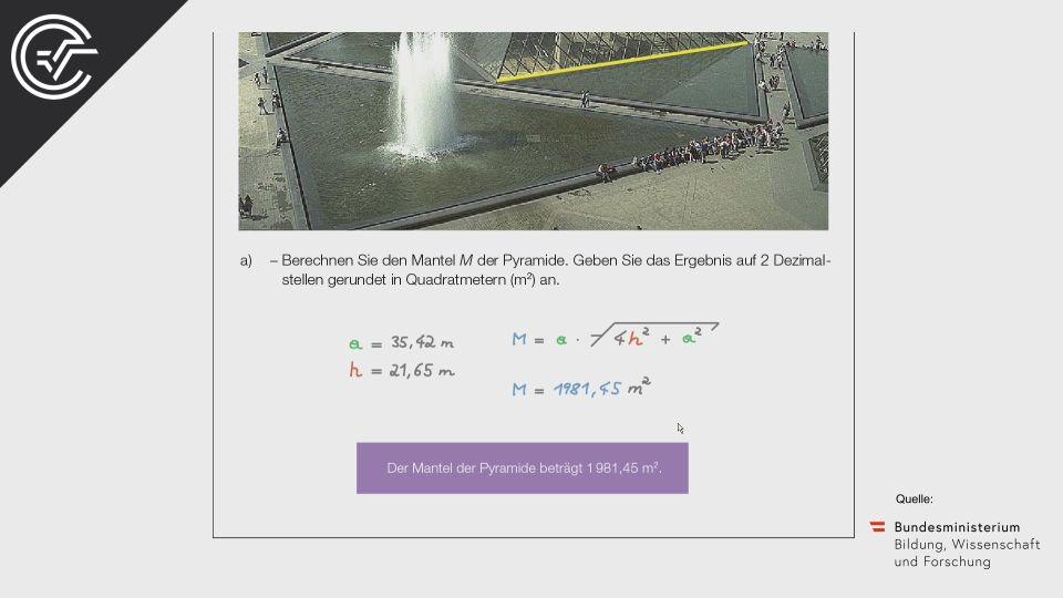 A_040 Glaspyramide des Louvre Der Genfer See Zentralmatura Mathematik BMB Aufgabenpool BHS Teil A Bifie  Bundesministerium für Bildung