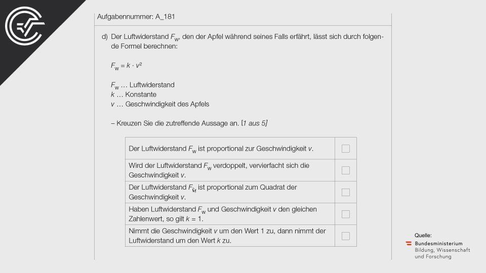 A_181 Freier Fall eines Apfels Zentralmatura Mathematik BMB Aufgabenpool BHS Teil A Bifie  Bundesministerium für Bildung