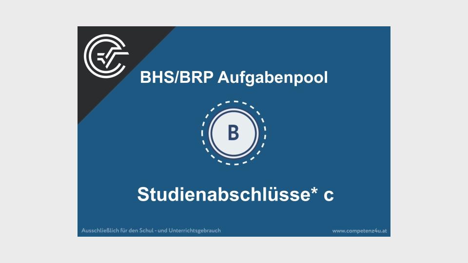 Studienabschlüsse c Bifie Aufgabenpool angewandte Mathematik BHS Teil-B Cluster Zentralmatura Mathematik