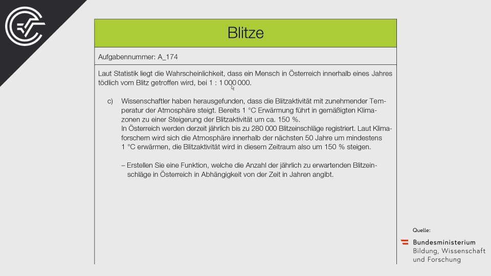 A_174 Blitze Zentralmatura Mathematik BMB Aufgabenpool BHS Teil A Bifie  Bundesministerium für Bildung