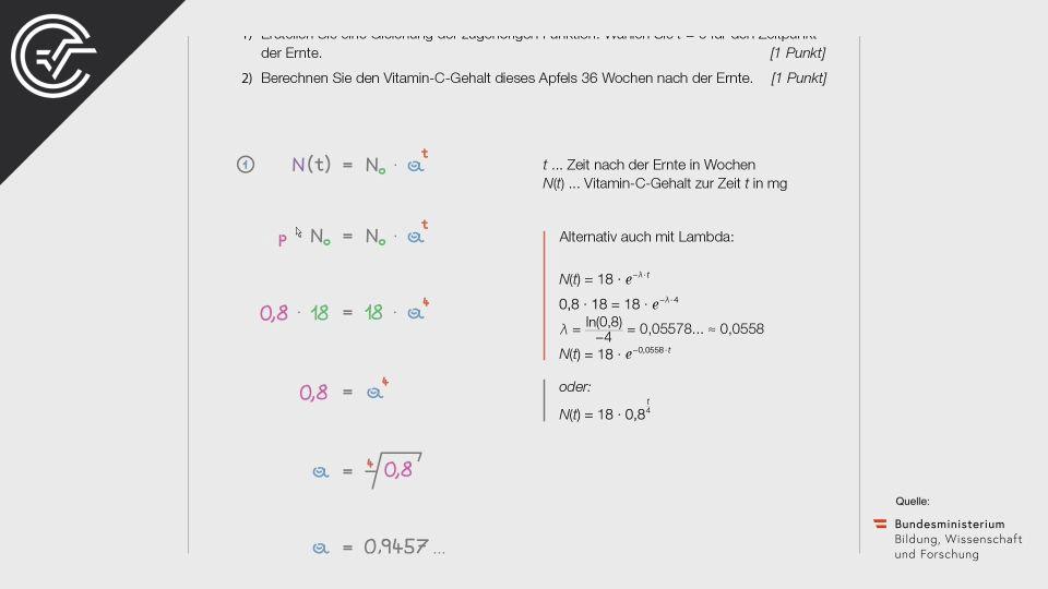 Vitamin C Zentralmatura Mathematik BMB Aufgabenpool BHS BRP Teil A Bifie