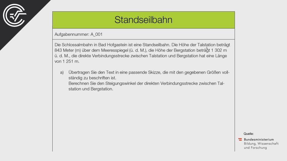 A_001 Standseilbahn Zentralmatura Mathematik BMB Aufgabenpool BHS Teil A Bifie  Bundesministerium für Bildung