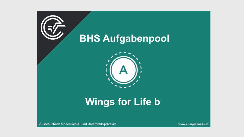 A_217 Wings for Life Zentralmatura Mathematik BMB Aufgabenpool BHS Teil A Bifie  Bundesministerium für Bildung