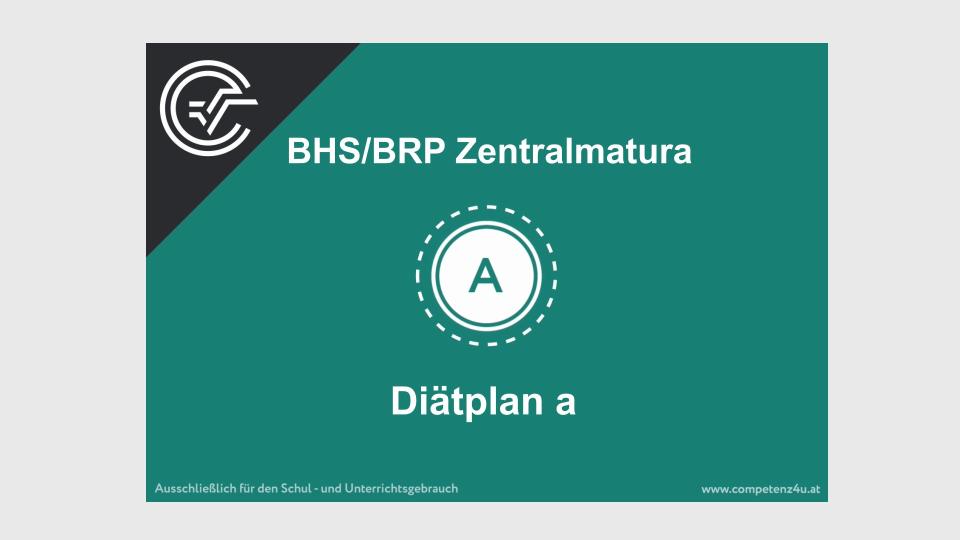 A_134 Diätplan Zentralmatura Mathematik BMB Aufgabenpool BHS BRP Teil A Bifie