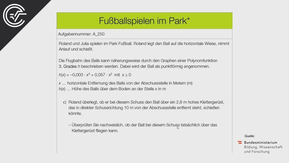A_250 Fußballspielen im Park Zentralmatura Mathematik BMB Aufgabenpool BHS Teil A Bifie  Bundesministerium für Bildung