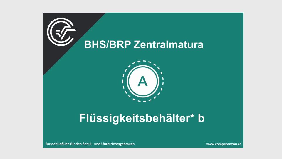 Flüssigkeitsbehälter Zentralmatura Mathematik BMB Aufgabenpool BHS BRP Teil A Bifie