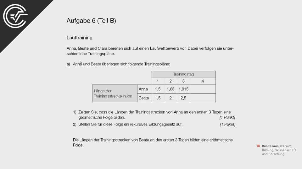 Lauftraining a Bifie Aufgabenpool angewandte Mathematik BHS Teil-B Cluster Zentralmatura Mathematik