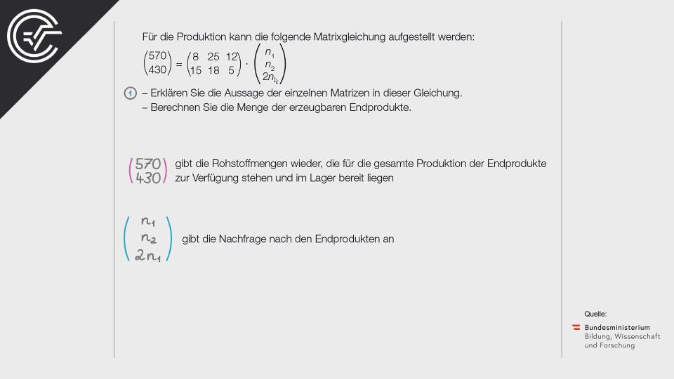 B_163 Zweistufige Produktion c Matrizen Bifie Aufgabenpool angewandte Mathematik BHS Teil-B Cluster Zentralmatura Mathematik