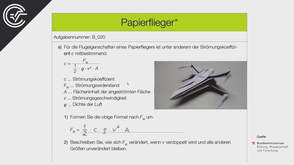 B_020 Papierflieger a Bifie Aufgabenpool angewandte Mathematik BHS Teil-B Cluster Zentralmatura Mathematik