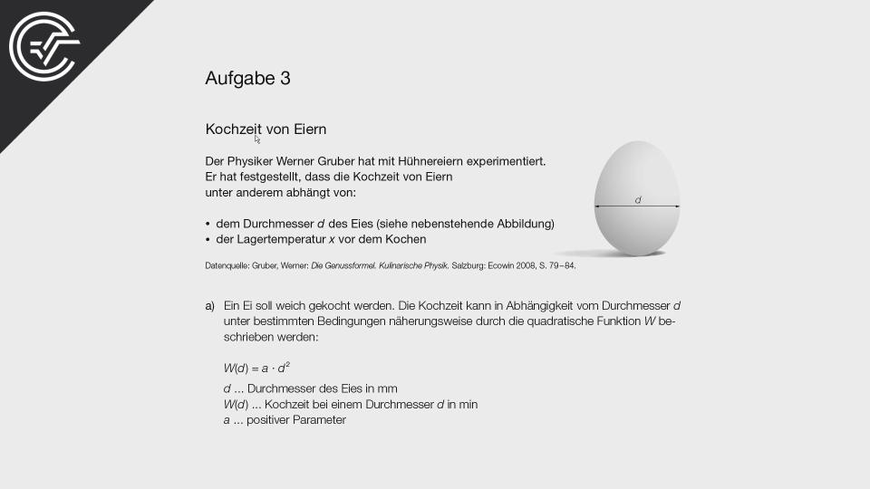 SRDP Kochzeit von Eiern Zentralmatura Mathematik BMB Aufgabenpool BHS BRP Teil A Bifie