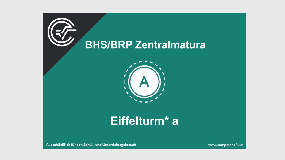 SRDP Eiffelturm Zentralmatura Mathematik BMB Aufgabenpool BHS BRP Teil A Bifie
