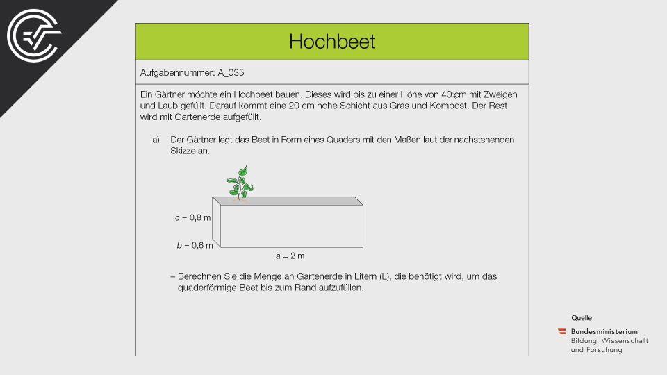 A_035 Hochbeet Zentralmatura Mathematik BMB Aufgabenpool BHS Teil A Bifie  Bundesministerium für Bildung