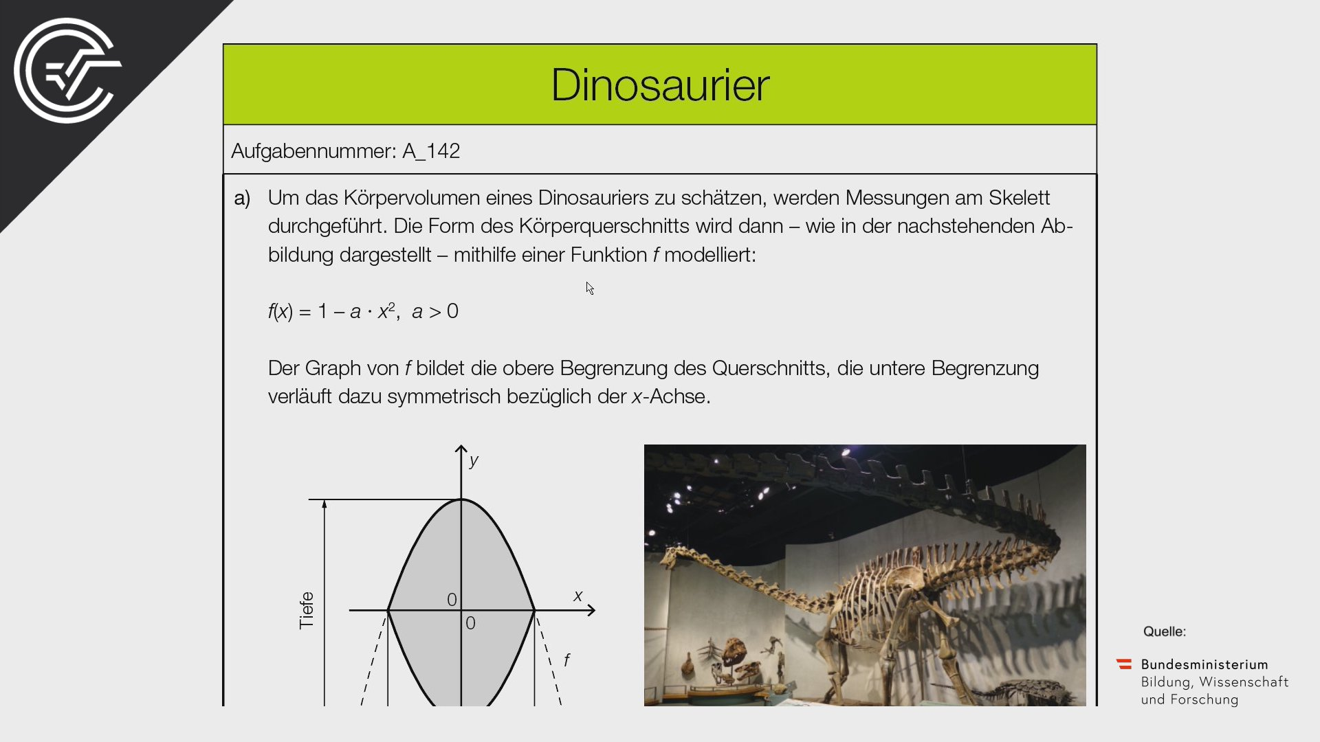 A_142 Dinosaurier Zentralmatura Mathematik BMB Aufgabenpool BHS BRP Teil A Bifie