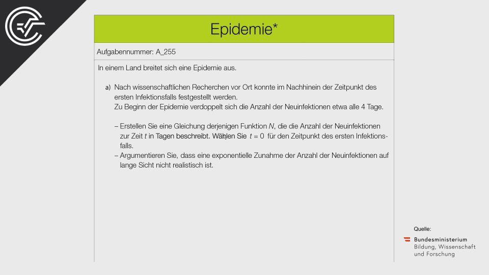 A_255 Epidemie Zentralmatura Mathematik BMB Aufgabenpool BHS Teil A Bifie  Bundesministerium für Bildung