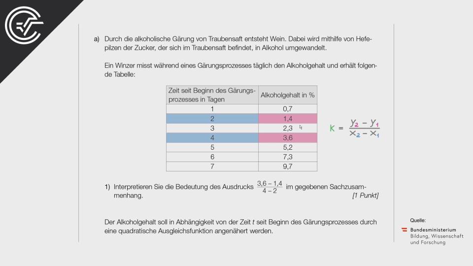 Wein a Bifie Aufgabenpool angewandte Mathematik BHS Teil-B Cluster Zentralmatura Mathematik