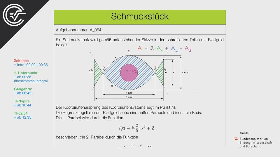 A_064 Schmuckstücke Zentralmatura Mathematik BMB Aufgabenpool BHS Teil A Bifie  Bundesministerium für Bildung
