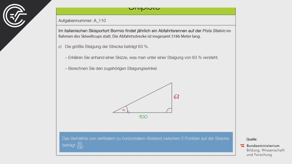 A_110 Skipiste Zentralmatura Mathematik BMB Aufgabenpool BHS Teil A Bifie  Bundesministerium für Bildung