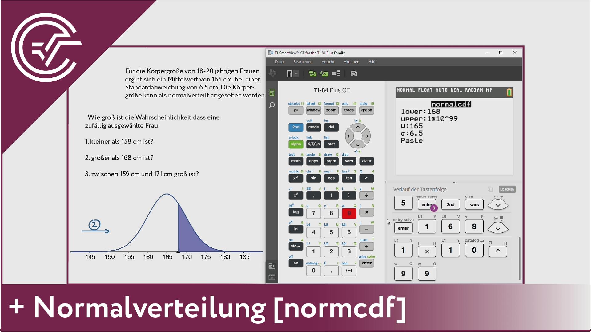 9. Normalverteilung - normCdf [TI-84/83/82]