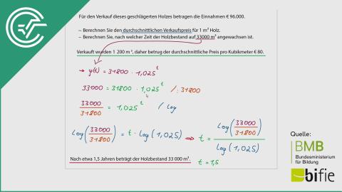 A_192 Wachstum von Holzbeständen b [Exponentialfunktionen]