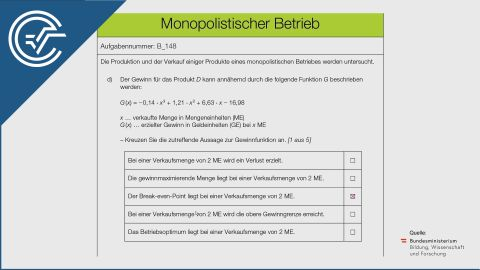 B_148 Monopolistischer Betrieb d [Break Even Point]