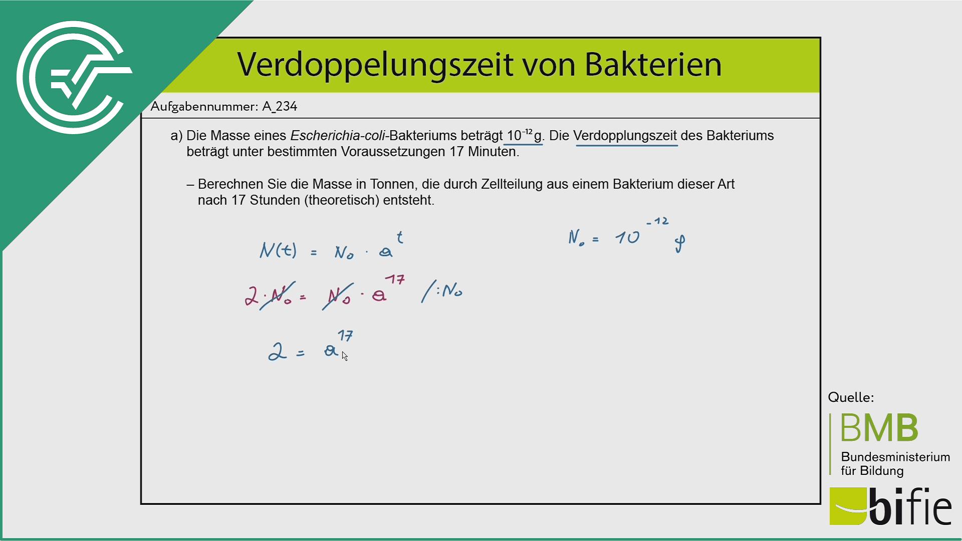 A_234 Verdopplungszeit Bakterien a [Exponentialfunktionen]