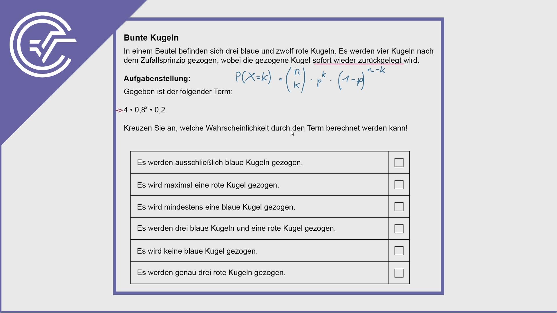 AHS Zentralmatura Aufgabe 23 - Binomialverteilung verstehen