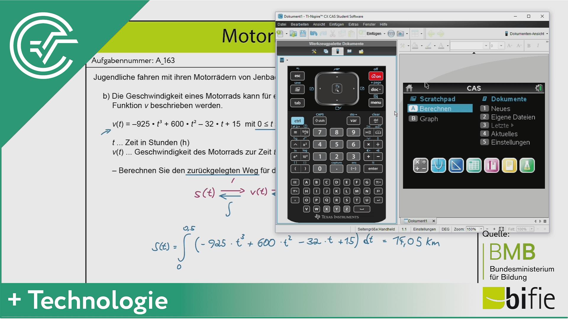 A_163 Motorradfahrt b [Physik - Integral]