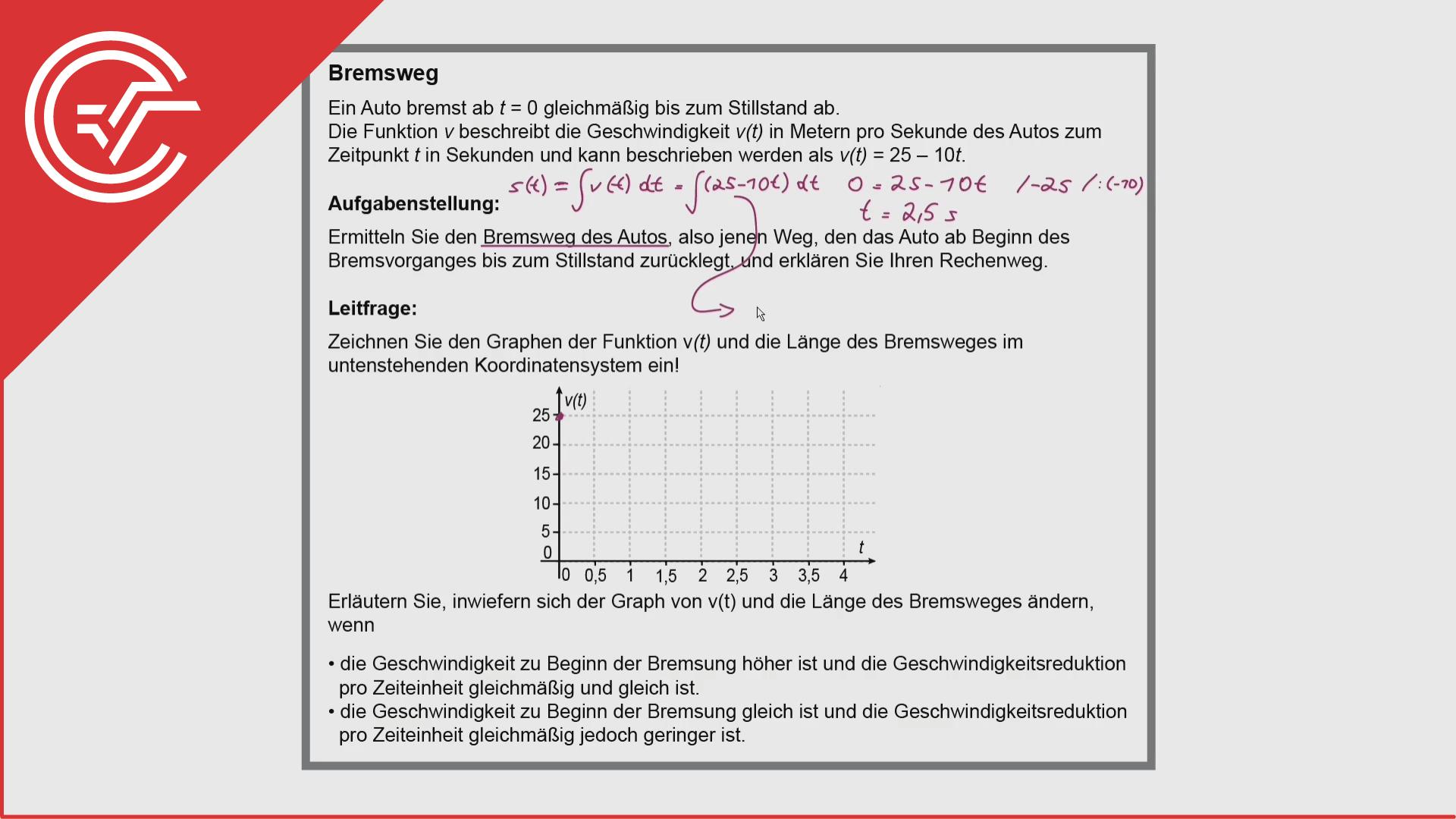 Kompensationsprüfung Aufgabe 4 - Integralrechnung + Bremsweg