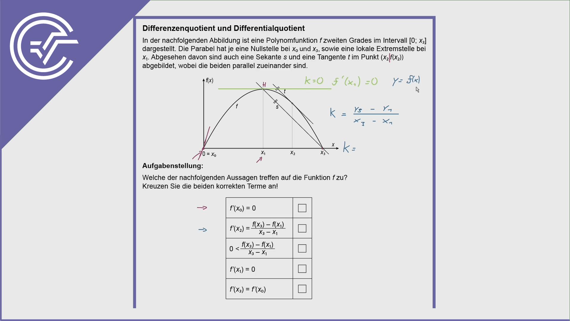 AHS Zentralmatura Aufgabe 13 - Differenzen- und Differentialquotient