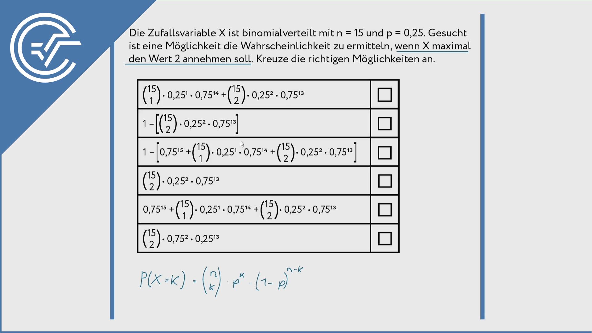 Binomialverteilung zuordnen 1