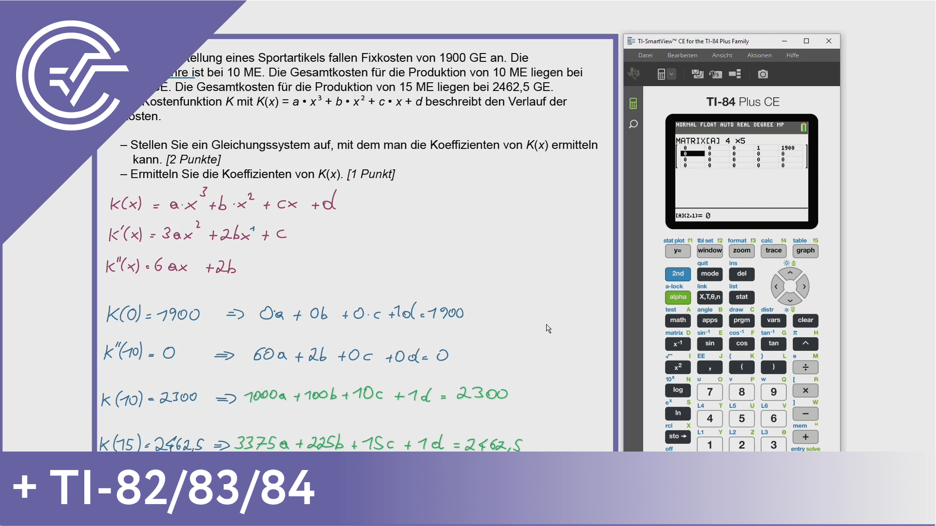 Teil-B - Cluster 7 - 7b Gleichungssysteme mit dem TI-82/83/84