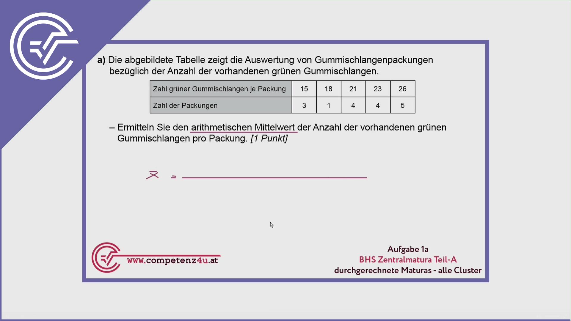 Zentralmatura Aufgabe 1a - Arithmetisches Mittel