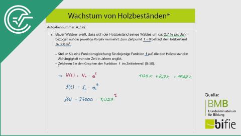 A_192 Wachstum von Holzbeständen a [Exponentialfunktionen]