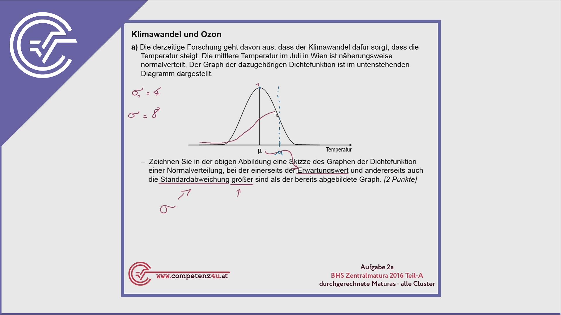 BHS Zentralmatura Aufgabe 2a - Normalverteilung verstehen