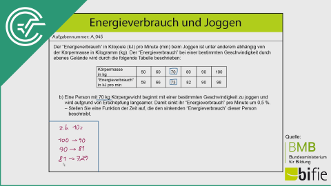 A_045 Energieverbrauch und Joggen b [Differenzenquotient]