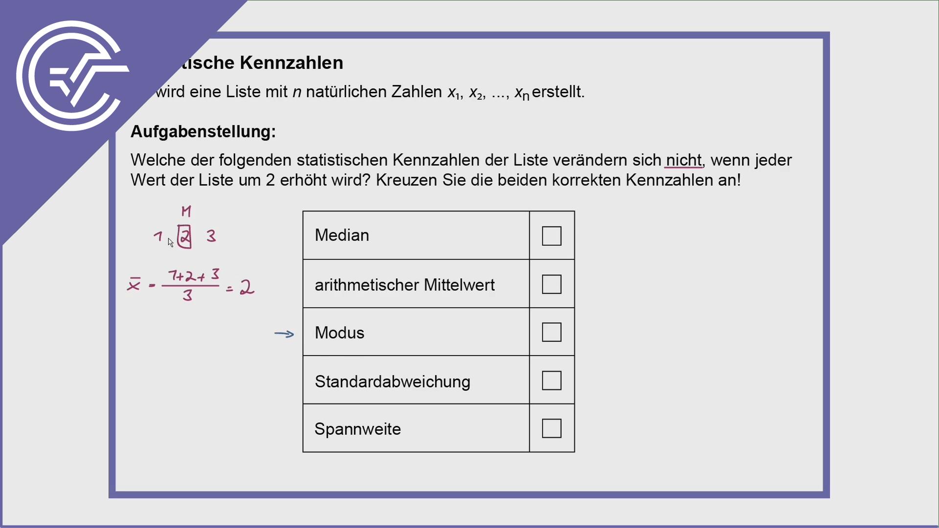 AHS Zentralmatura Aufgabe 20 - Statistik