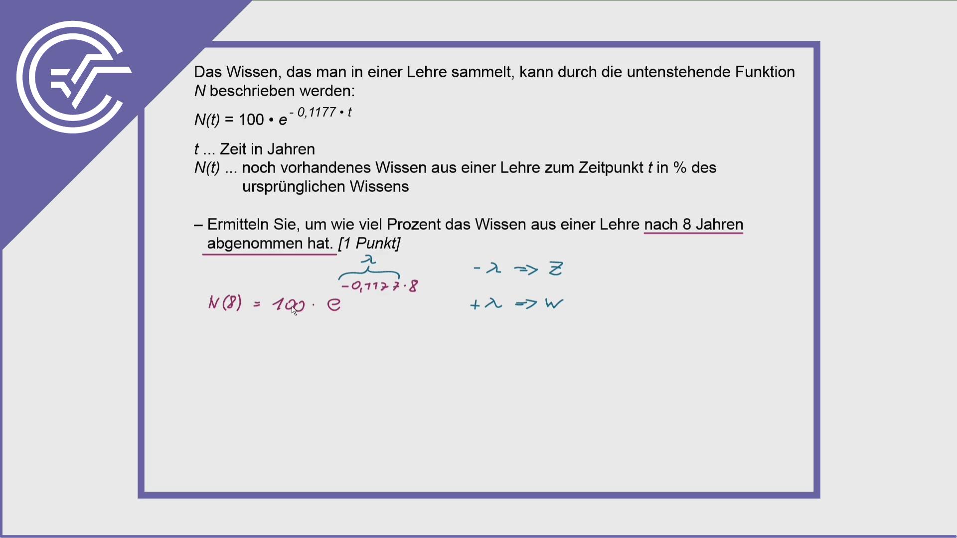 Zentralmatura Aufgabe 3c - Exponentieller Zerfall
